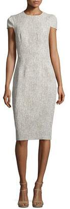 Michael Kors Collection Cap-Sleeve Jewel-Neck Sheath Dress, Hemp/White $1,595 thestylecure.com