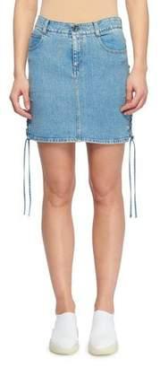 Stella McCartney Side Lace-Up A-Line Mini Denim Skirt