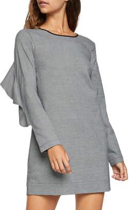 BCBGeneration Tweed Long-Sleeve Ruffle Shift Dress