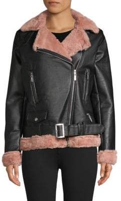 Joujou Faux Fur-Accented Faux Leather Jacket