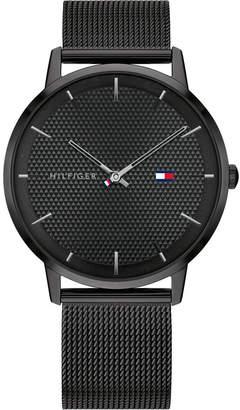 Tommy Hilfiger Men Black-Tone Stainless Steel Mesh Bracelet Watch 40mm, s