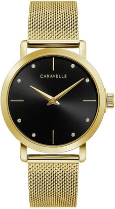 Bulova Caravelle By Caravelle by Women's Crystal Accent Gold-Tone Mesh Watch - 44L256