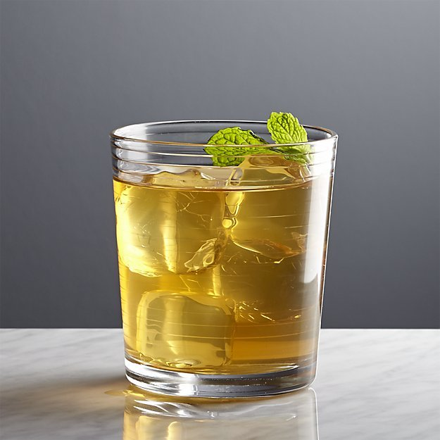 Crate & Barrel Rings Double Old-Fashioned Glass