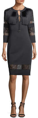 Tadashi Shoji Round-Neck Neoprene Cocktail Dress w/ Lace & Fringe Detail