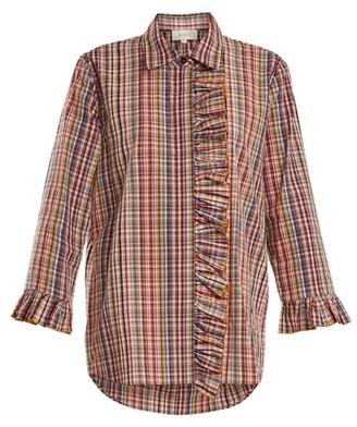 Isa Arfen Ruffle Trimmed Checked Cotton Shirt - Womens - Multi