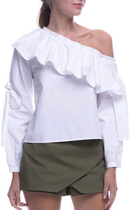 ENGLISH FACTORY Asymmetric Off-the-Shoulder Top