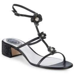 Rene Caovilla Leather Ankle-Strap Sandals
