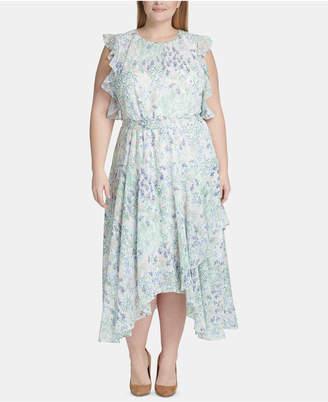 Tommy Hilfiger Plus Size Floral Chiffon Handkerchief-Hem Midi Dress