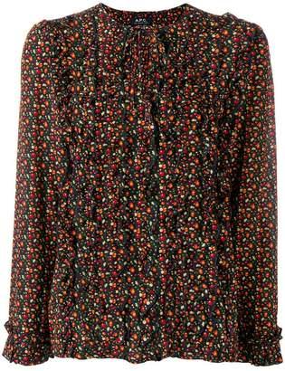 A.P.C. fruit print ruffle trim blouse