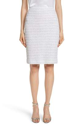 St. John Frosted Metallic Tweed Pencil Skirt