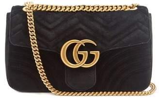 Gucci Gg Marmont Medium Quilted Velvet Shoulder Bag - Womens - Black