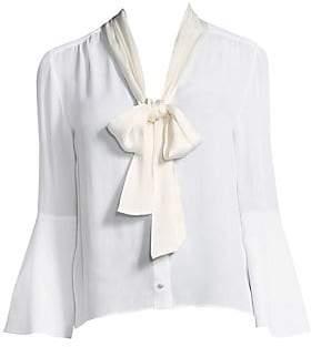 Alice + Olivia Women's Merideth Tie-Neck Bell-Sleeve Blouse