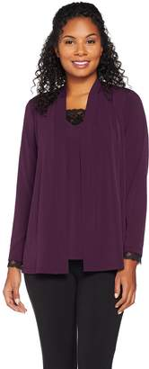 Susan Graver Liquid Knit Cardigan and Tank Set with Lace Inset