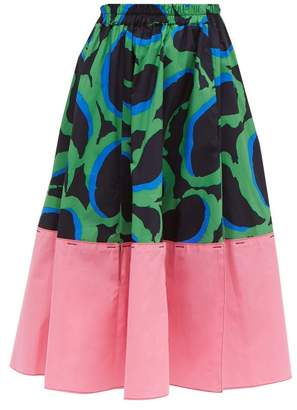 Marni Abstract Print Cotton Poplin Midi Skirt - Womens - Red Multi
