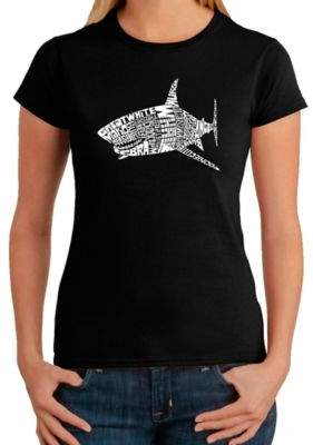 Women's Large Word Art Shark T-Shirt in Black $19.99 thestylecure.com
