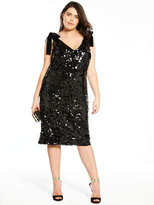 c2c16e400c89f9 V By Very Curve V by Very Curve Velvet Tie Strap Sequin Dress - Black