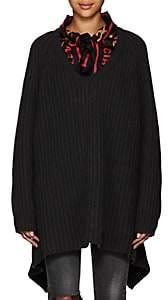 Balenciaga Women's Scarf-Collar Chunky Virgin Wool Sweater - Black