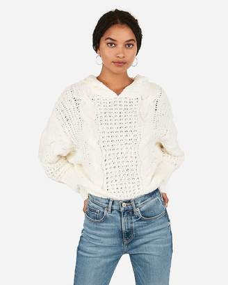 Express Cozy Cable Knit Hooded Sweater