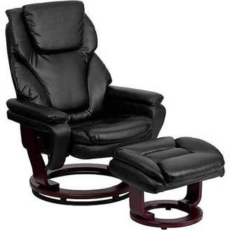 Flash Furniture Contemporary Leather Recliner and Ottoman with Swiveling Mahogany Wood Base, Multiple Colors