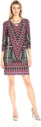 MSK Women's Lace Up Printed Shift Dress