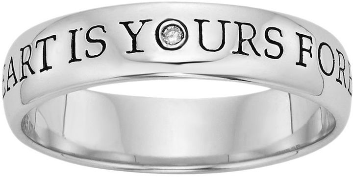 "Sterling Silver Diamond Accent ""My Heart Is Yours Forever"" Purity Ring"
