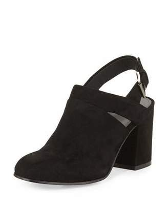 Eileen Fisher Stack Suede Slingback Bootie, Black $235 thestylecure.com