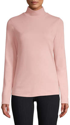 ST. JOHN'S BAY Long Sleeve Mock Neck T-Shirt-Womens