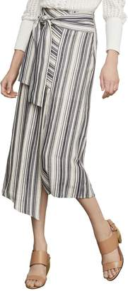 BCBGMAXAZRIA Striped Asymmetrical Cotton Blend Midi Skirt