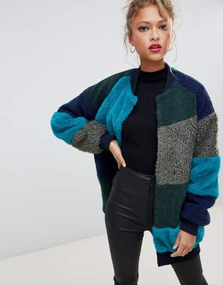 Noisy May faux fur patchwork coat