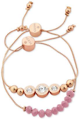 GUESS Rose Gold-Tone 2-Pc. Set Crystal & Bead Slider Bracelets