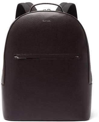 Paul Smith Embossed Leather Backpack - Mens - Burgundy