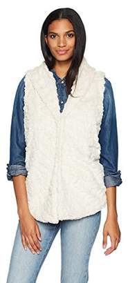 True Grit Dylan by Women's Textured Silky Faux Fur Shawl Collar Vest with Closure