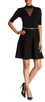 Rachel Roy Beaded Waist Fit & Flare Illusion Dress