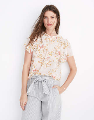 Madewell Smocked Mockneck Top in Butterfly Sanctuary
