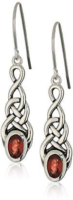 Celtic Sterling Silver Genuine Garnet Knot Linear Drop Earrings