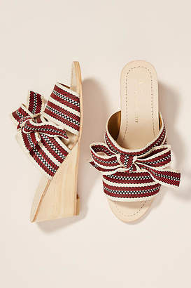 Anthropologie Strappy Bow Wedge Sandals