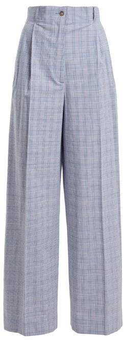 Checked high-rise cotton-blend trousers