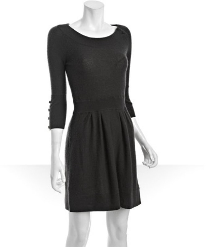 Qi charcoal cashmere 'Blair' button sleeve dress