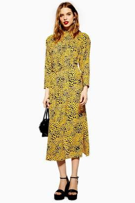 Topshop Womens Abstract Animal Belted Midi Dress - Yellow
