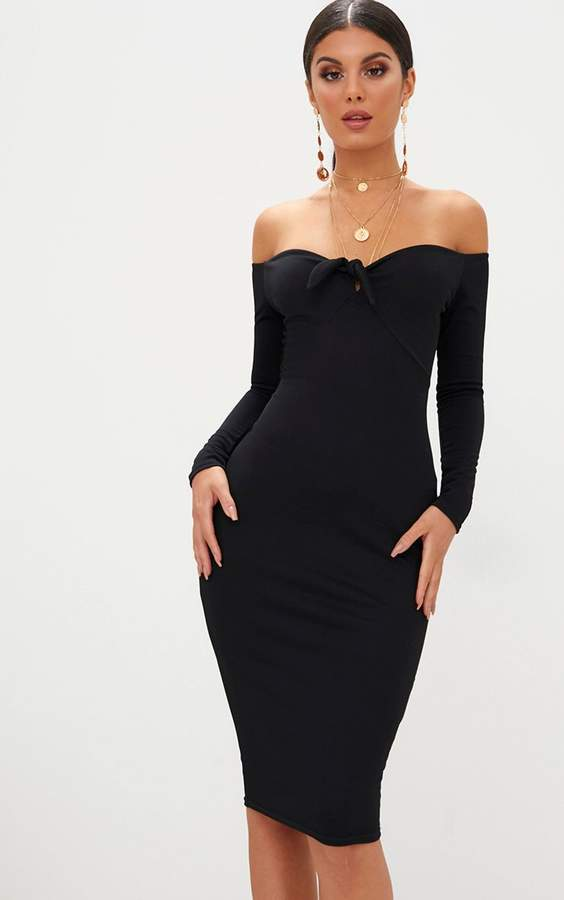 Black Bardot Tie Front Midi Dress