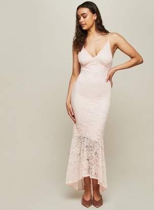 Miss Selfridge Nude lace fishtail prom dress