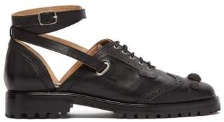 Rue St. - Bilkov Ankle Strap Leather Brogues - Womens - Black