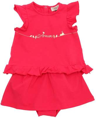 Armani Junior Ruffled Cotton Jersey T-Shirt & Skirt