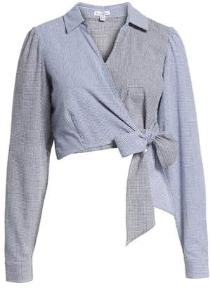 Love, Fire Mixed Gingham Wrap Front Shirt