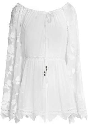 Zimmermann Lattice-Trimmed Embroidered Silk-Georgette Tunic