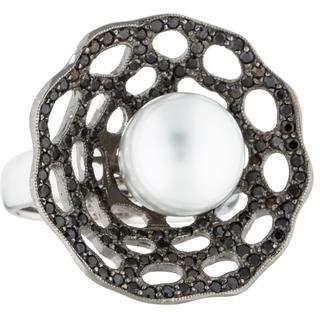 Ring 14K Diamond & Pearl Flower Cocktail