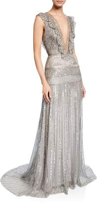 Monique Lhuillier Deep-V Embroidered Lame Ruffle Gown