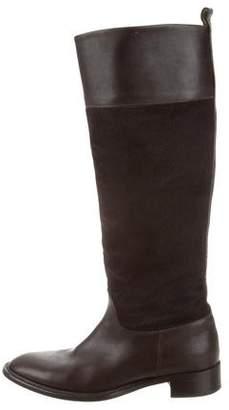 Salvatore Ferragamo Ponyhair-Paneled Knee-High Boots