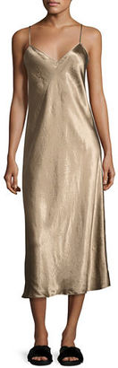 Vince Bias-Cut Satin V-Neck Midi-Length Slip Dress $275 thestylecure.com