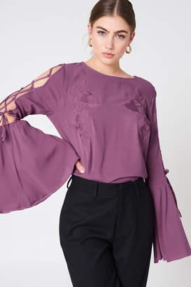 Na Kd Boho Lacing Sleeve Embroidery Top Dusty Purple